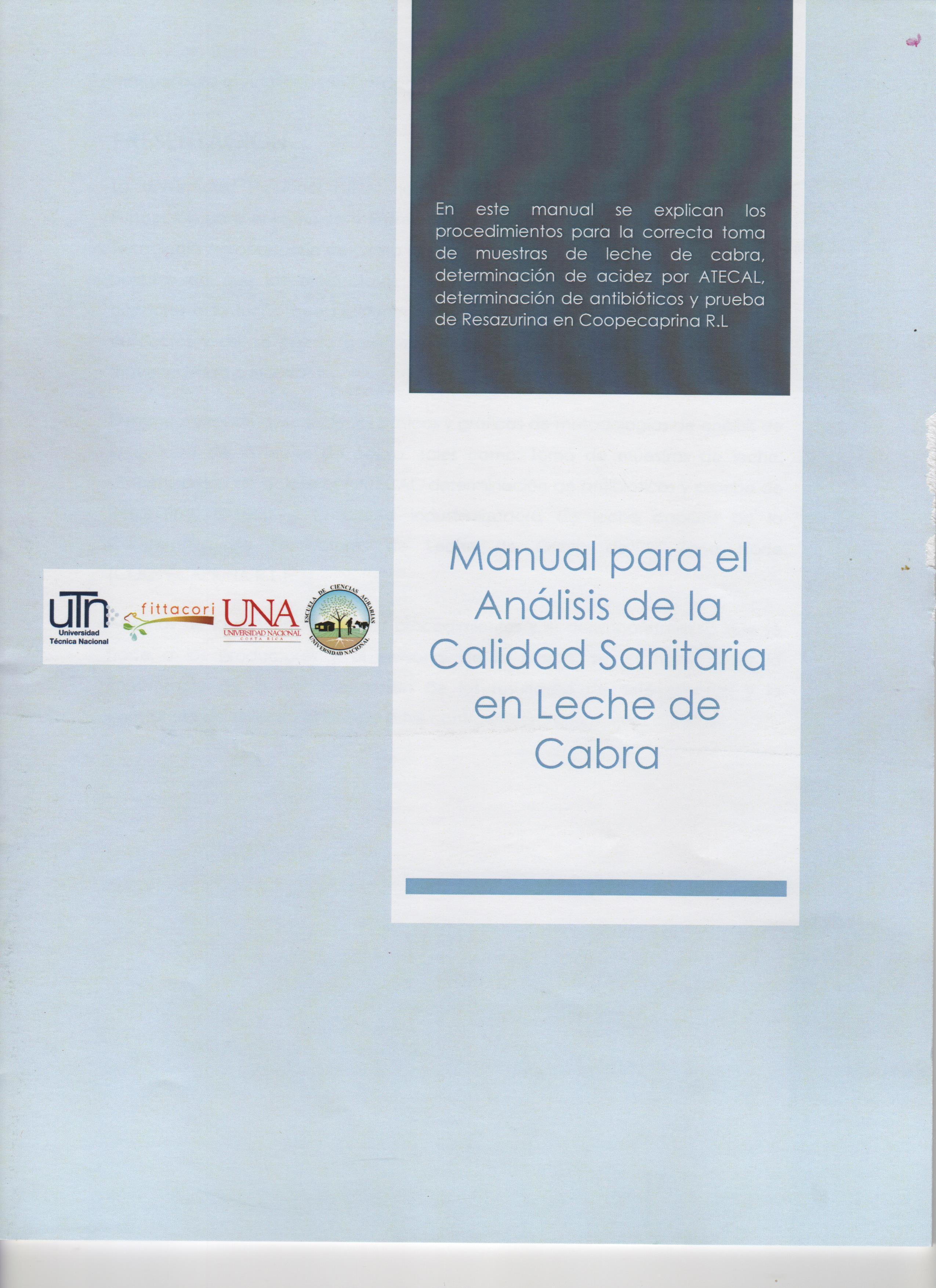 Manual para el Análisis de la Calidad Sanitaria en la Leche de Cabra